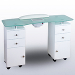 Aurora Glass Topped Manicure Table - Double Column (60002A)
