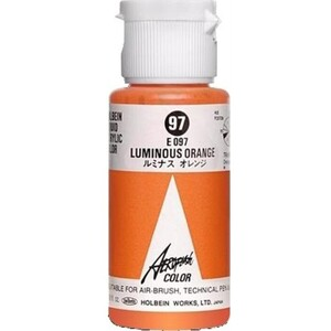 Aeroflash Liquid Acrylic Airbrush Nail Color - LUMINOUS ORANGE #97 1.18 oz. (4900669060970)