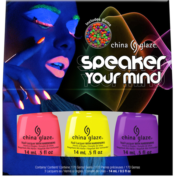 China Glaze Lacquer - Electric Nights Collection - SPEAKER YOUR MIND - 3 Piece Kit x 0.5 oz. Each (82625)
