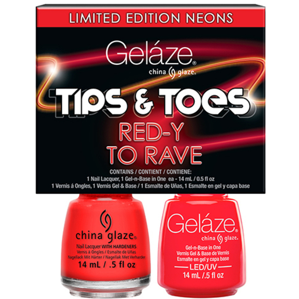 Gelaze - Gel & Matched Lacquer - Tips n' Toes - Electric Nights Collection - RED-Y TO RAVE 0.5 oz. Each (82670)