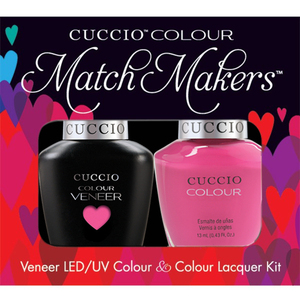 Cuccio Match Makers - Venice Beach Collection - Pink Cadillac Kit - 1 Nail Lacquer + 1 Matching Veneer Soak Off LEDUV Nail Colour 0.43 oz. Each (#6140)
