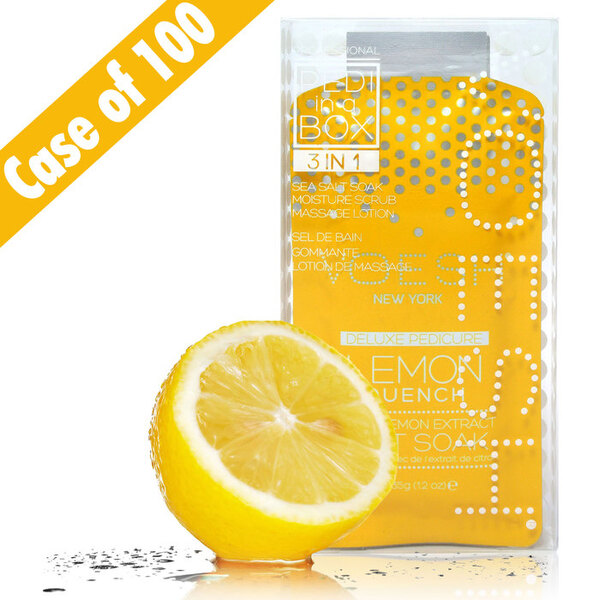 Voesh Basic Pedicure in a Box - 3-Step Hygienic Spa Pedicure Kit - Lemon Quench Case of 100 Treatment Sets by Voesh of New York ()