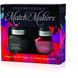 Cuccio Match Makers - Hearts Of Fire Kit - 1 Nail Lacquer + 1 Matching Veneer Soak Off LEDUV Nail Colour 0.43 oz. Each (#6139)