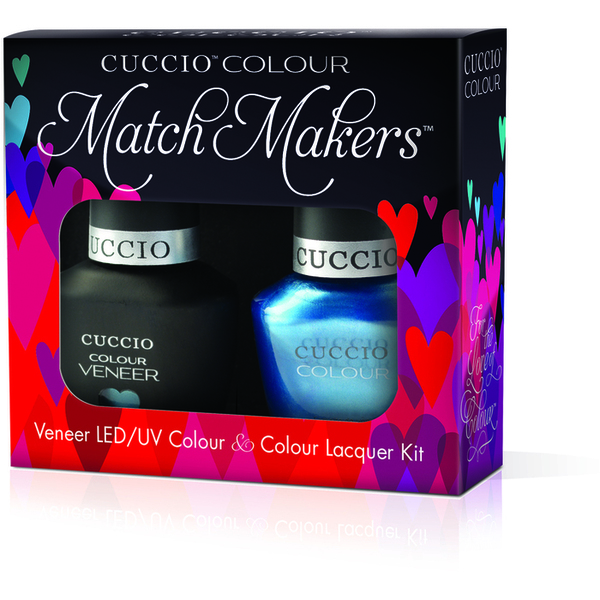 Cuccio Match Makers - Making Waves Kit - 1 Nail Lacquer + 1 Matching Veneer Soak Off LEDUV Nail Colour 0.43 oz. Each (#6137)