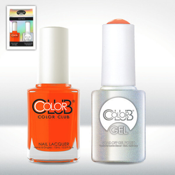 Color Club Gel Duo Pack - WHAM! POW! - 1 Gel Lacuqer 0.5 oz + 1 Lacquer 0.5oz Matching Color (GELAN03)