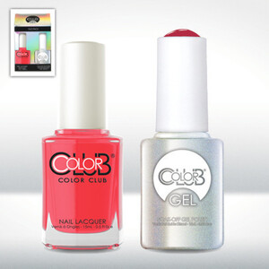 Color Club Gel Duo Pack - WATERMELON CANDY PINK - 1 Gel Lacuqer 0.5 oz + 1 Lacquer 0.5oz Matching Color (GEL225)