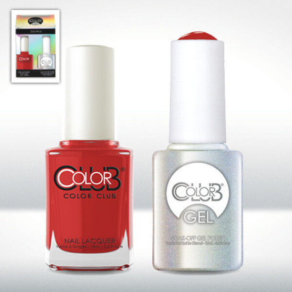 Color Club Gel Duo Pack - CADILLAC RED - 1 Gel Lacuqer 0.5 oz + 1 Lacquer 0.5oz Matching Color (GEL115)