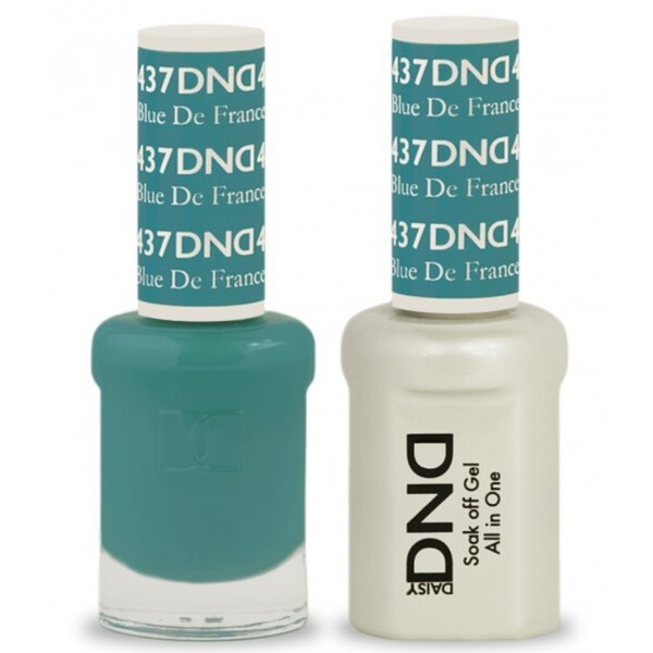 DND Duo GEL Pack - BLUE DE FRANCE 1 Gel Polish 0.47 oz. + 1 Lacquer 0.47 oz. in Matching Color (DND-G437)