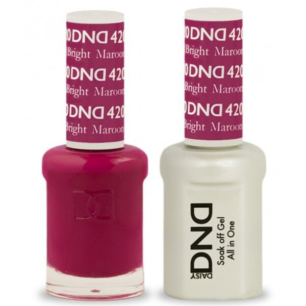 DND Duo GEL Pack - BRIGHT MAROON 1 Gel Polish 0.47 oz. + 1 Lacquer 0.47 oz. in Matching Color (DND-G420)