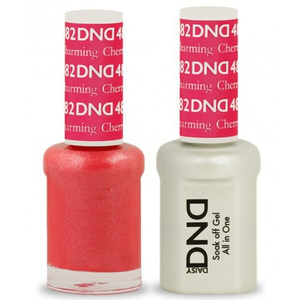 DND Duo GEL Pack - CHARMING CHERRY 1 Gel Polish 0.47 oz. + 1 Lacquer 0.47 oz. in Matching Color (DND-G482)