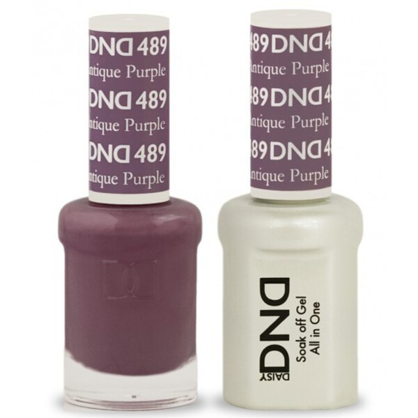 DND Duo GEL Pack - ANTIQUE PURPLE 1 Gel Polish 0.47 oz. + 1 Lacquer 0.47 oz. in Matching Color (DND-G489)