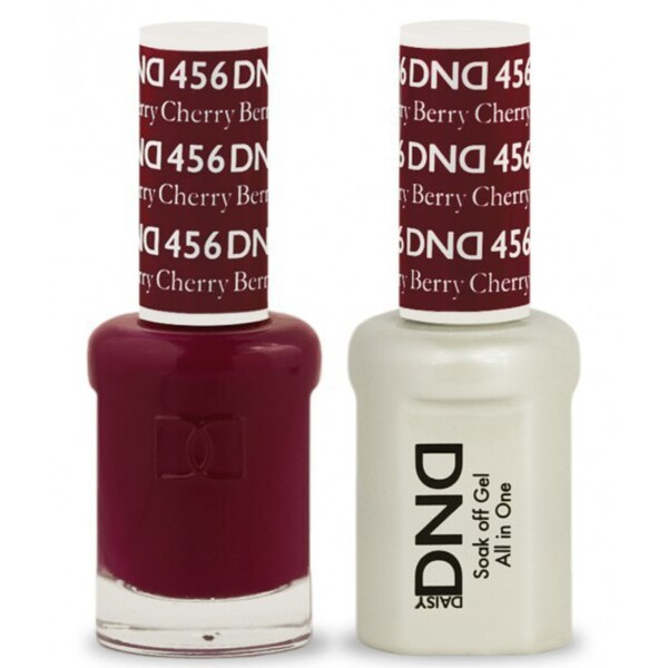 DND Duo GEL Pack - CHERRY BERRY 1 Gel Polish 0.47 oz. + 1 Lacquer 0.47 oz. in Matching Color (DND-G456)