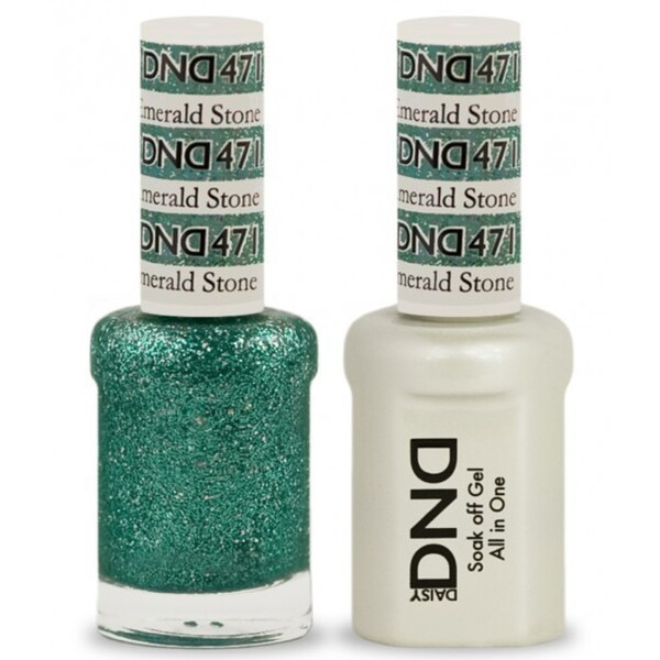 DND Duo GEL Pack - EMERALD STONE 1 Gel Polish 0.47 oz. + 1 Lacquer 0.47 oz. in Matching Color (DND-G471)