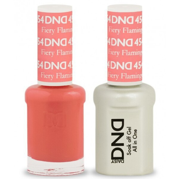 DND Duo GEL Pack - FIERY FLAMINGO 1 Gel Polish 0.47 oz. + 1 Lacquer 0.47 oz. in Matching Color (DND-G454)