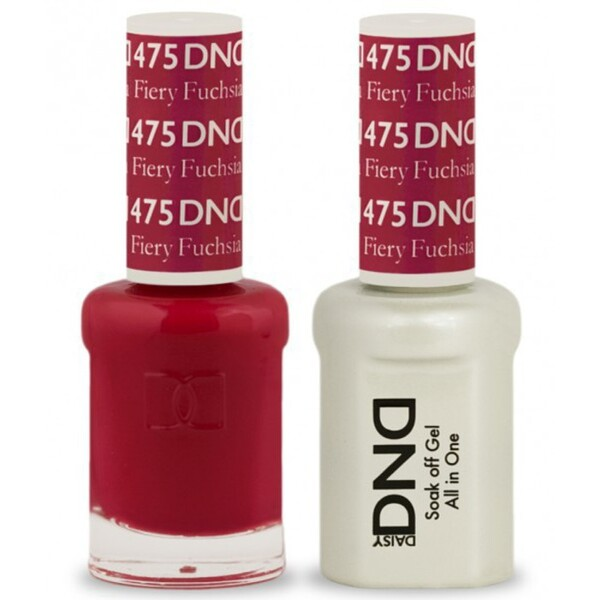 DND Duo GEL Pack - FIERY FUCHSIA 1 Gel Polish 0.47 oz. + 1 Lacquer 0.47 oz. in Matching Color (DND-G475)