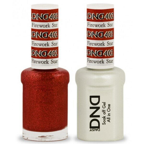 DND Duo GEL Pack - FIREWORK STAR 1 Gel Polish 0.47 oz. + 1 Lacquer 0.47 oz. in Matching Color (DND-G402)