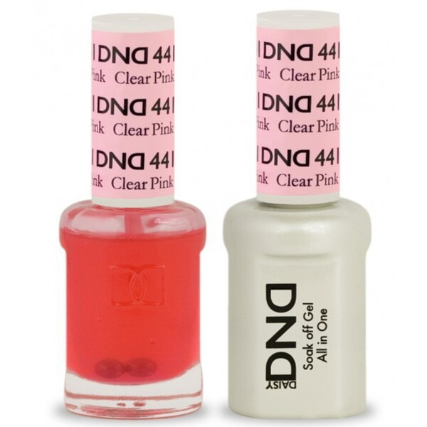 DND Duo GEL Pack - CLEAR PINK 1 Gel Polish 0.47 oz. + 1 Lacquer 0.47 oz. in Matching Color (DND-G441)