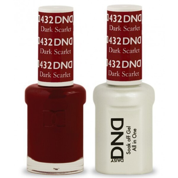 DND Duo GEL Pack - DARK SCARLET 1 Gel Polish 0.47 oz. + 1 Lacquer 0.47 oz. in Matching Color (DND-G432)