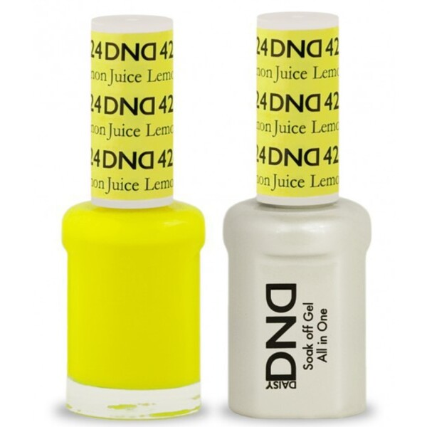 DND Duo GEL Pack - LEMON JUICE 1 Gel Polish 0.47 oz. + 1 Lacquer 0.47 oz. in Matching Color (DND-G424)