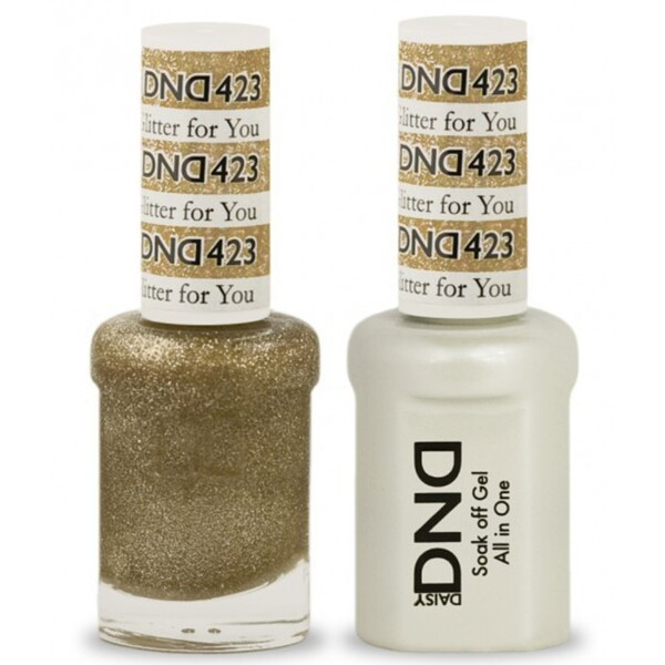 DND Duo GEL Pack - GLITTER FOR YOU 1 Gel Polish 0.47 oz. + 1 Lacquer 0.47 oz. in Matching Color (DND-G423)