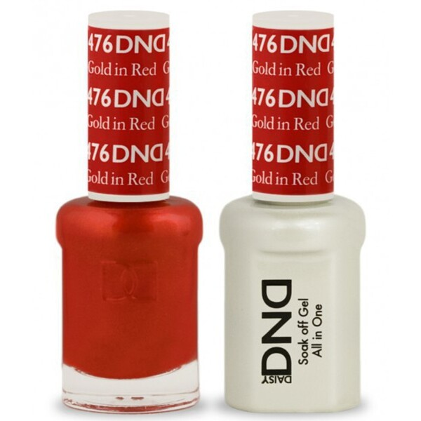 DND Duo GEL Pack - GOLD IN RED 1 Gel Polish 0.47 oz. + 1 Lacquer 0.47 oz. in Matching Color (DND-G476)