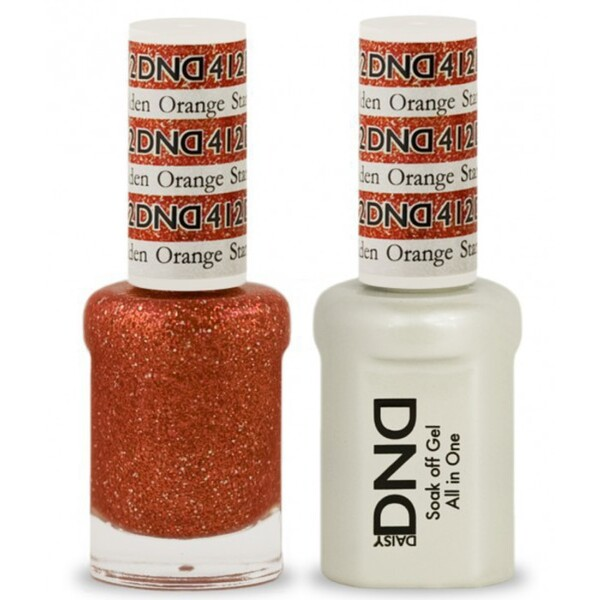 DND Duo GEL Pack - GOLDEN ORANGE STAR 1 Gel Polish 0.47 oz. + 1 Lacquer 0.47 oz. in Matching Color (DND-G412)