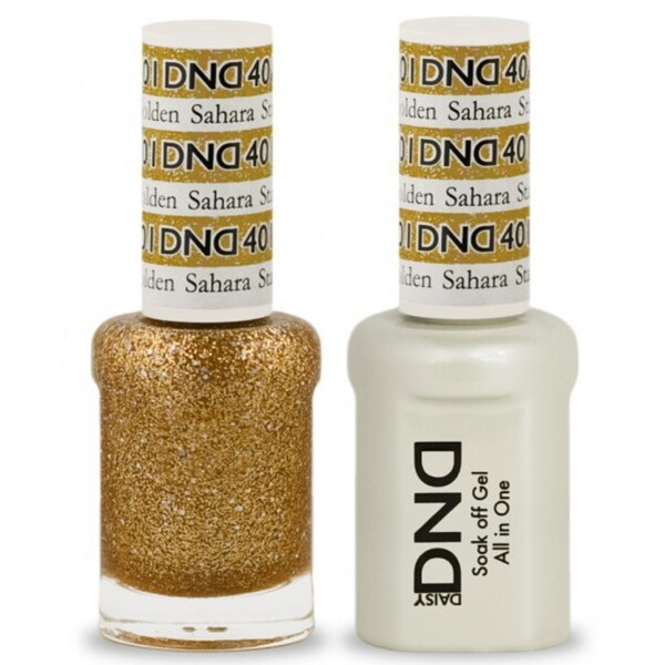 DND Duo GEL Pack - GOLDEN SAHARA STAR 1 Gel Polish 0.47 oz. + 1 Lacquer 0.47 oz. in Matching Color (DND-G401)