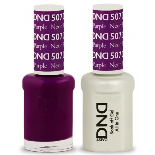 DND Duo GEL Pack - NEON PURPLE 1 Gel Polish 0.47 oz. + 1 Lacquer 0.47 oz. in Matching Color (DND-G507)