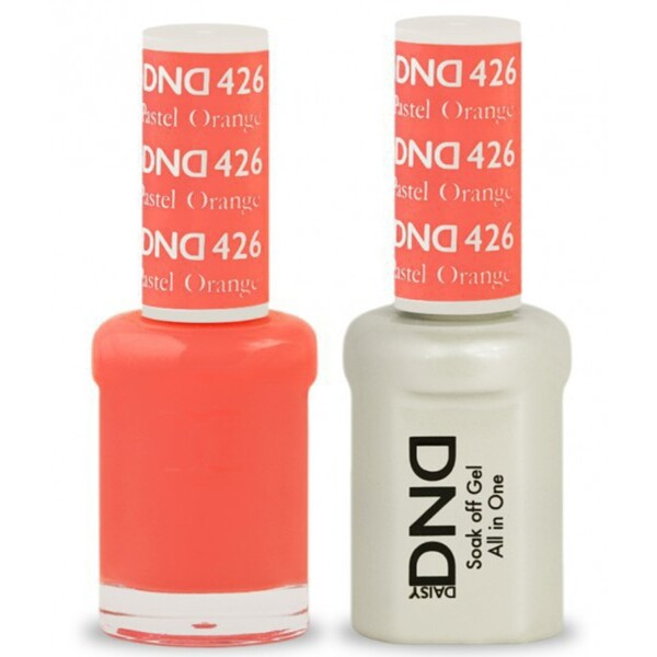 DND Duo GEL Pack - PASTEL ORANGE 1 Gel Polish 0.47 oz. + 1 Lacquer 0.47 oz. in Matching Color (DND-G426)