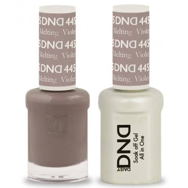 DND Duo GEL Pack - MELTING VIOLET 1 Gel Polish 0.47 oz. + 1 Lacquer 0.47 oz. in Matching Color (DND-G445)