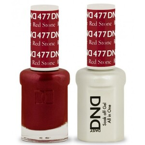 DND Duo GEL Pack - RED STONE 1 Gel Polish 0.47 oz. + 1 Lacquer 0.47 oz. in Matching Color (DND-G477)