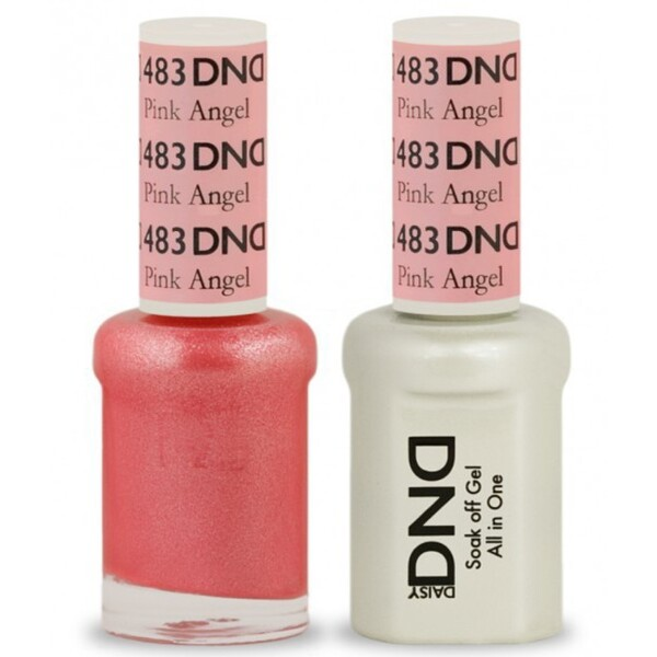 DND Duo GEL Pack - PINK ANGEL 1 Gel Polish 0.47 oz. + 1 Lacquer 0.47 oz. in Matching Color (DND-G483)