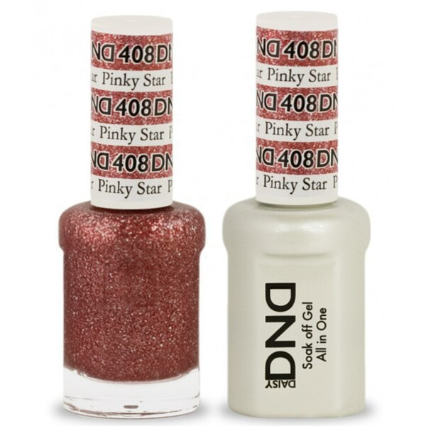 DND Duo GEL Pack - PINKY STAR 1 Gel Polish 0.47 oz. + 1 Lacquer 0.47 oz. in Matching Color (DND-G408)