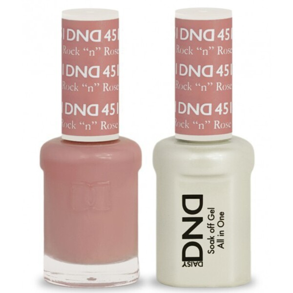 DND Duo GEL Pack - ROCK N ROSE 1 Gel Polish 0.47 oz. + 1 Lacquer 0.47 oz. in Matching Color (DND-G451)