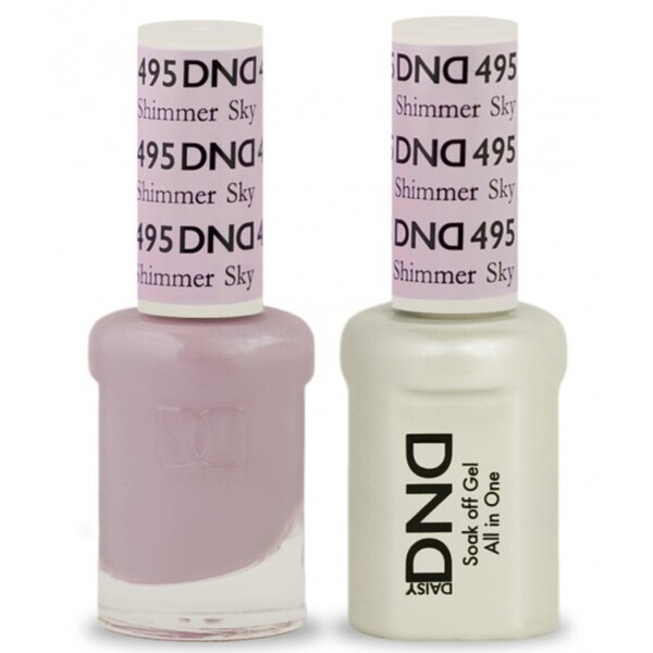 DND Duo GEL Pack - SHIMMER SKY 1 Gel Polish 0.47 oz. + 1 Lacquer 0.47 oz. in Matching Color (DND-G495)