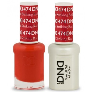 DND Duo GEL Pack - STRIKING RED 1 Gel Polish 0.47 oz. + 1 Lacquer 0.47 oz. in Matching Color (DND-G474)