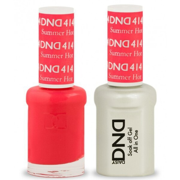DND Duo GEL Pack - SUMMER HOT PINK 1 Gel Polish 0.47 oz. + 1 Lacquer 0.47 oz. in Matching Color (DND-G414)