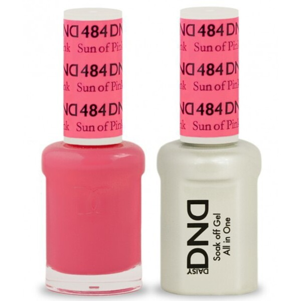DND Duo GEL Pack - SUN OF PINK 1 Gel Polish 0.47 oz. + 1 Lacquer 0.47 oz. in Matching Color (DND-G484)