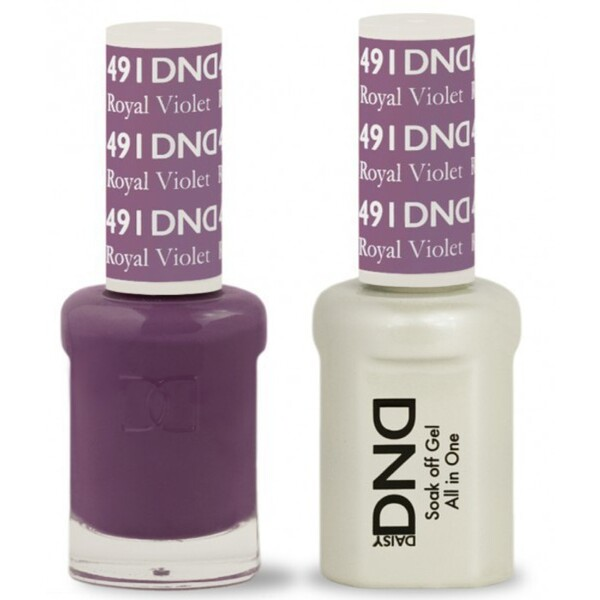 DND Duo GEL Pack - ROYAL VIOLET 1 Gel Polish 0.47 oz. + 1 Lacquer 0.47 oz. in Matching Color (DND-G491)