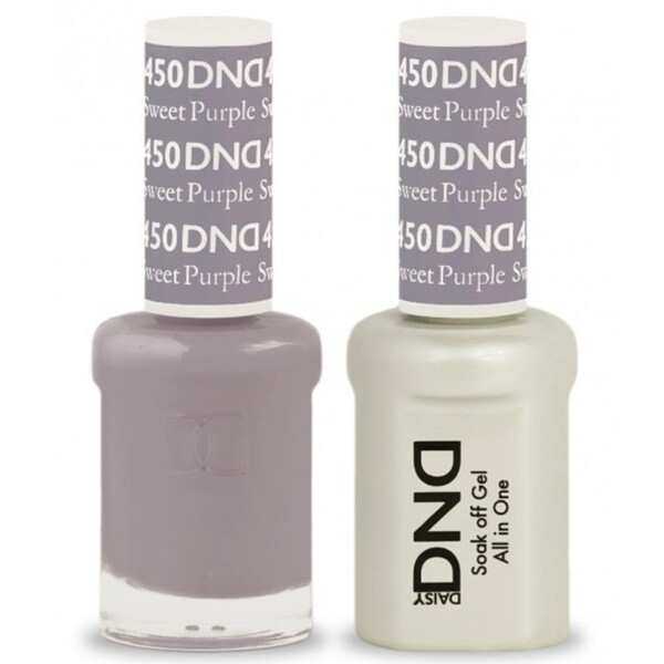 DND Duo GEL Pack - SWEET PURPLE 1 Gel Polish 0.47 oz. + 1 Lacquer 0.47 oz. in Matching Color (DND-G450)
