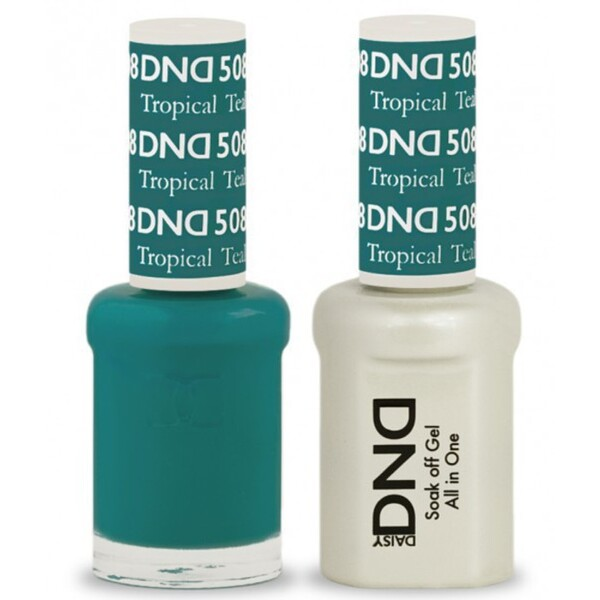 DND Duo GEL Pack - TROPICAL TEAL 1 Gel Polish 0.47 oz. + 1 Lacquer 0.47 oz. in Matching Color (DND-G508)