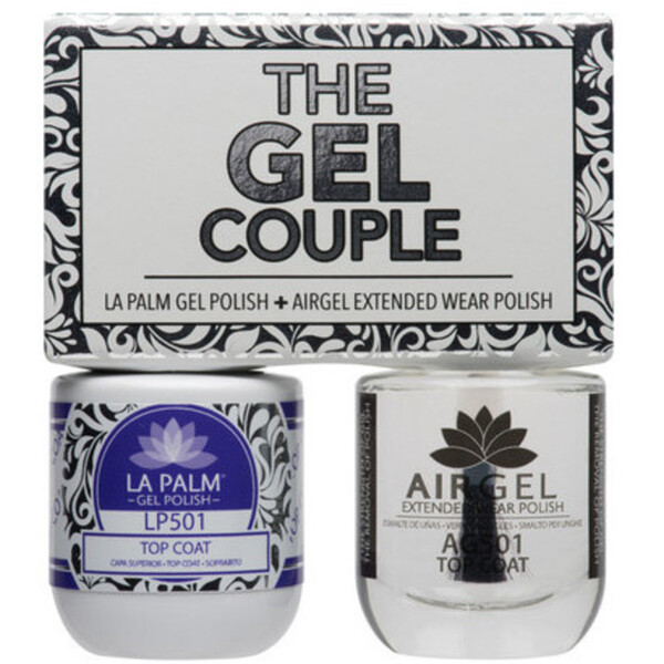 The Gel Couple - TOP COAT - La Palm Gel Polish 0.5 oz. + Airgel - Air Dry Extended Wear Polish 0.5 oz. by La Palm (LP501)