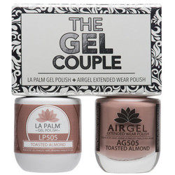 The Gel Couple - TOASTED ALMOND - La Palm Gel Polish 0.5 oz. + Airgel - Air Dry Extended Wear Polish 0.5 oz. by La Palm (LP505)