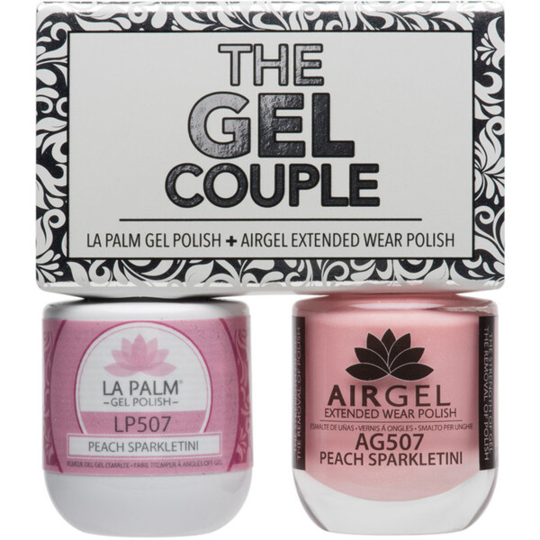 The Gel Couple - PEACH SPAKLETINI - La Palm Gel Polish 0.5 oz. + Airgel - Air Dry Extended Wear Polish 0.5 oz. by La Palm (LP507)