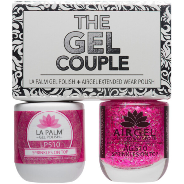 The Gel Couple - SPRINKLES ON TOP - La Palm Gel Polish 0.5 oz. + Airgel - Air Dry Extended Wear Polish 0.5 oz. by La Palm (LP510)