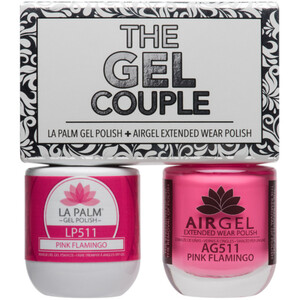 The Gel Couple - PINK FLAMINGO - La Palm Gel Polish 0.5 oz. + Airgel - Air Dry Extended Wear Polish 0.5 oz. by La Palm (LP511)