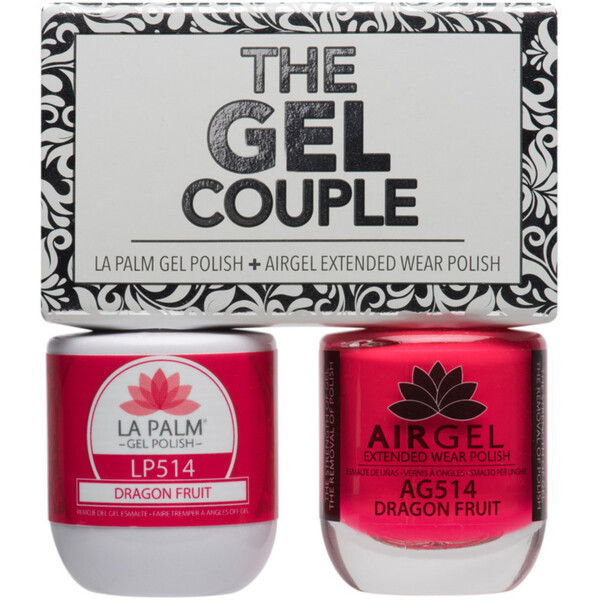 The Gel Couple - DRAGON FRUIT - La Palm Gel Polish 0.5 oz. + Airgel - Air Dry Extended Wear Polish 0.5 oz. by La Palm (LP514)