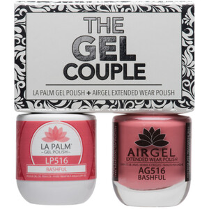 The Gel Couple - BASHFUL - La Palm Gel Polish 0.5 oz. + Airgel - Air Dry Extended Wear Polish 0.5 oz. by La Palm (LP516)
