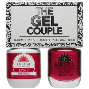The Gel Couple - RAD-ISH RED - La Palm Gel Polish 0.5 oz. + Airgel - Air Dry Extended Wear Polish 0.5 oz. by La Palm (LP517)