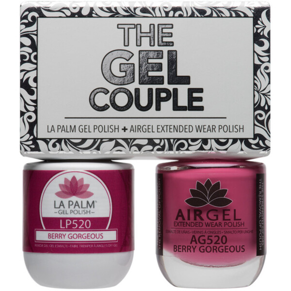 The Gel Couple - BERRY GORGEOUS - La Palm Gel Polish 0.5 oz. + Airgel - Air Dry Extended Wear Polish 0.5 oz. by La Palm (LP520)